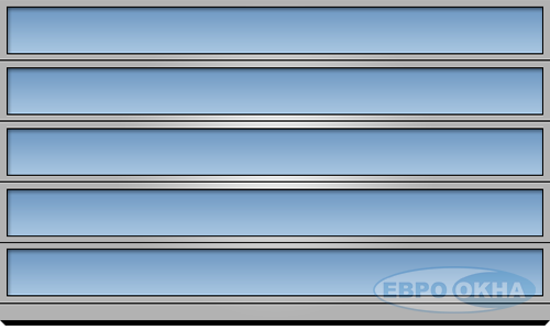Евроокна - Секционное разделение панорамных ворот