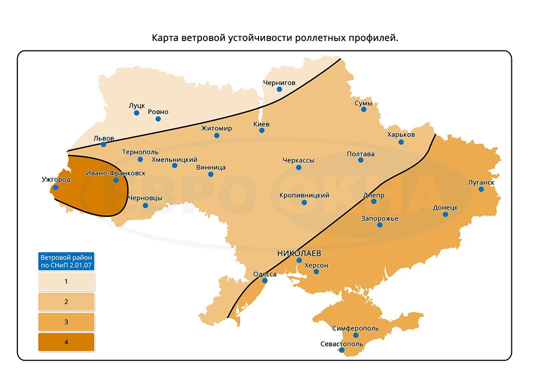 Евроокна - Карта ветровой нагрузки